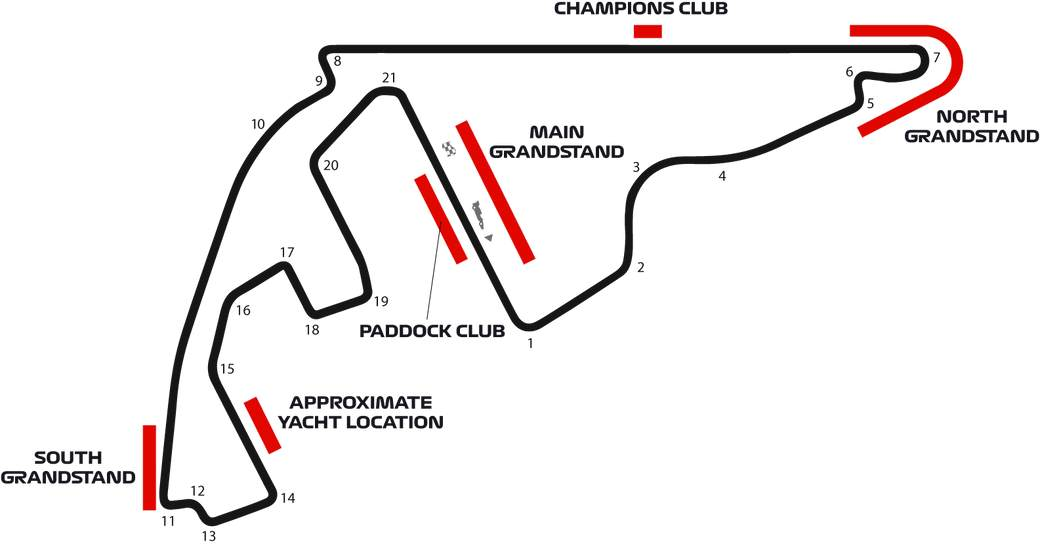 Yas Marina F1 Racing Circuit map for Abu Dhabi Grand Prix