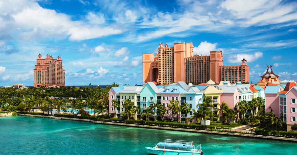 Atlantis Paradise Hotel in the Bahamas, with coloured houses along the waterfront