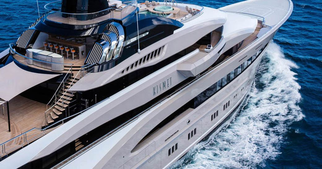 close up of bold exterior lines of luxury yacht KISMET