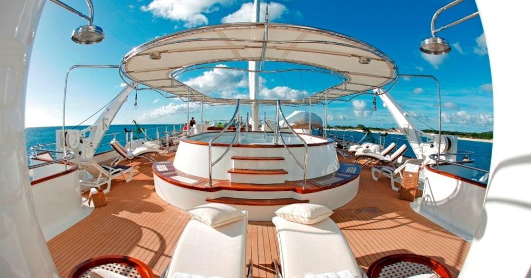 luxury motor yacht SHERAKHAN's deck Jacuzzi