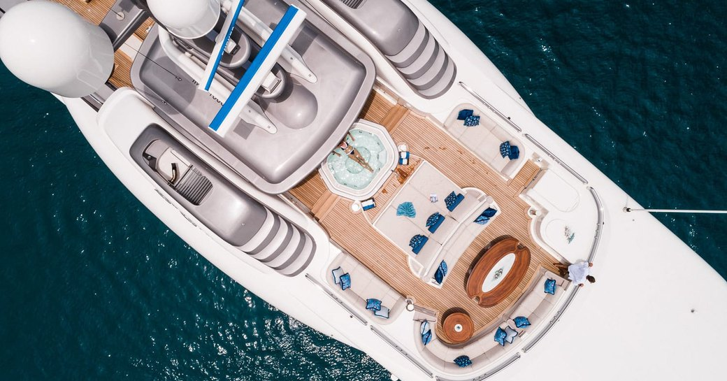 sunpads,seating area and Jacuzzi on the forward section of the sundeck aboard luxury yacht CALYPSO