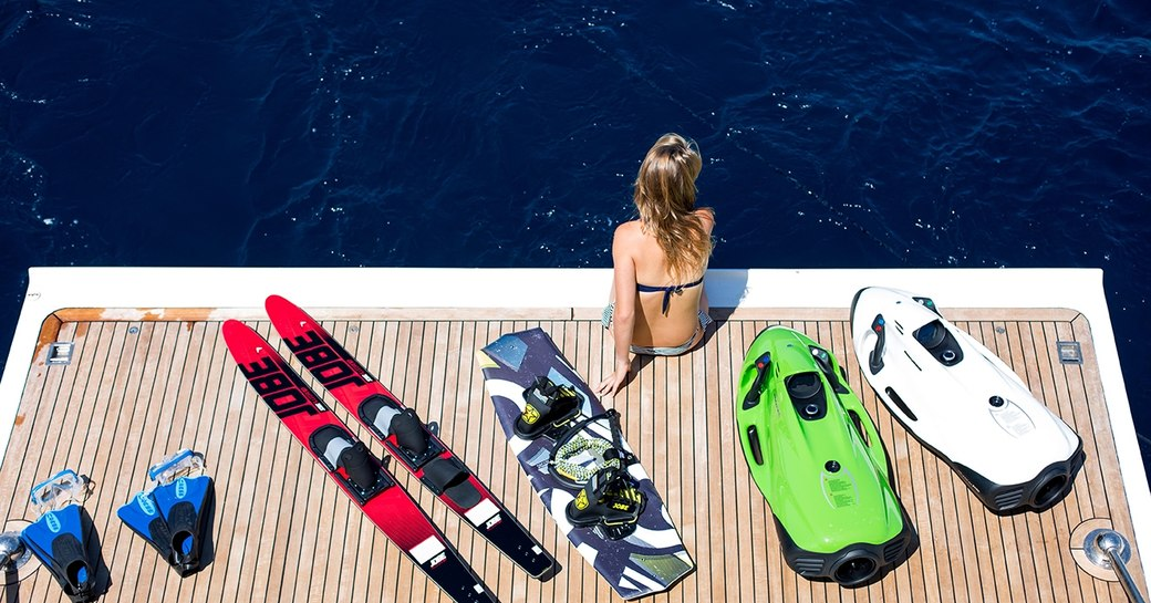 Swim platform and water toys on Robusto yacht