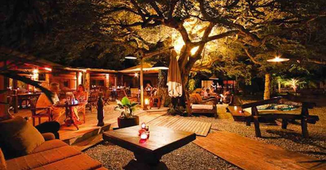 outdoor seating at Le Tamarin restaurant in St Barts