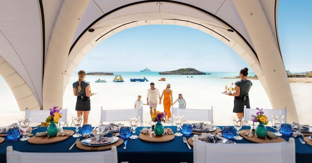 beach picnics on luxury yacht