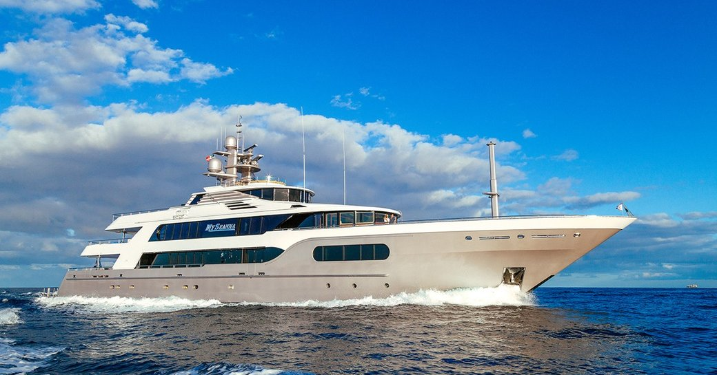 superyacht My Seanna cuts through the water on a Mediterranean charter vacation