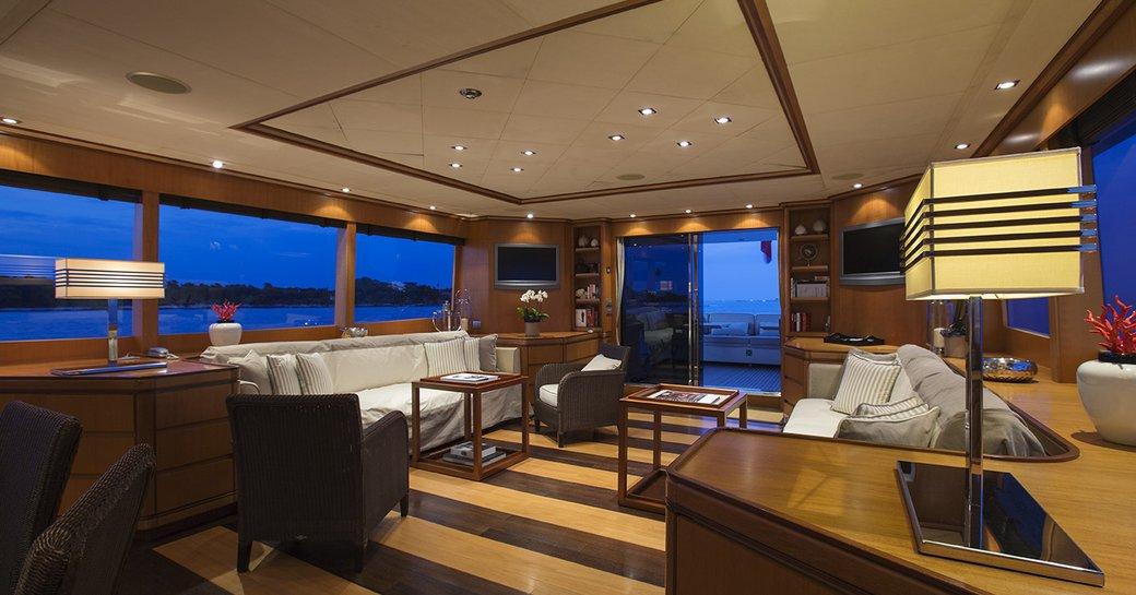 main salon on luxury yacht cappuccino