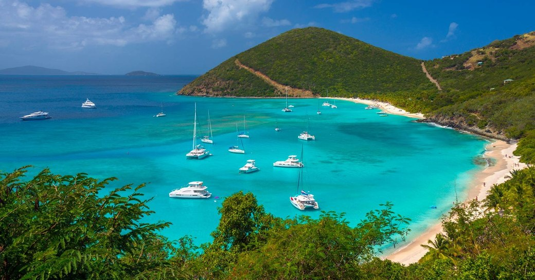 A collection of catamarans sit just off a beach in the British Virgin Islands