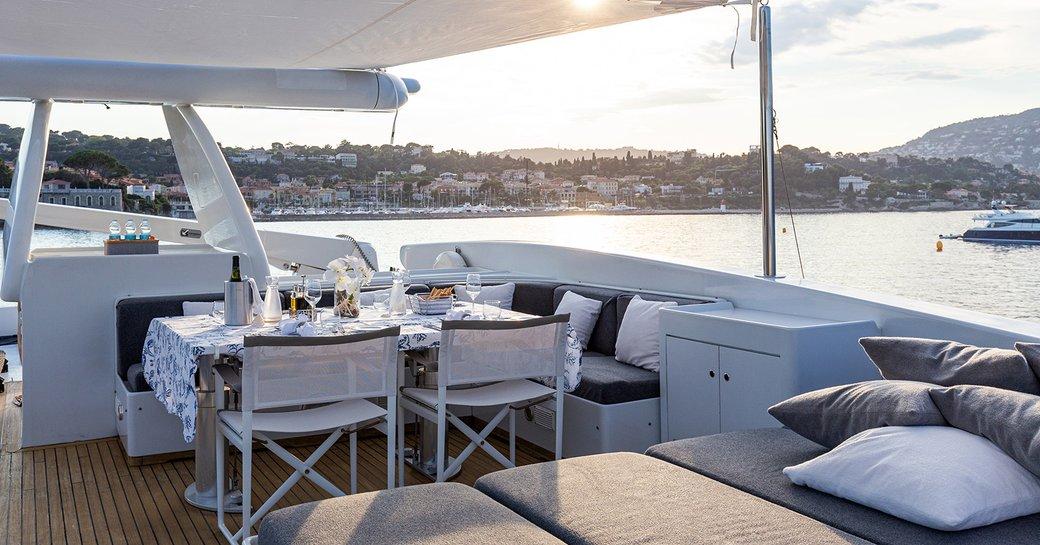 Alfresco dining area on Mondo Marine motor yacht TALILA
