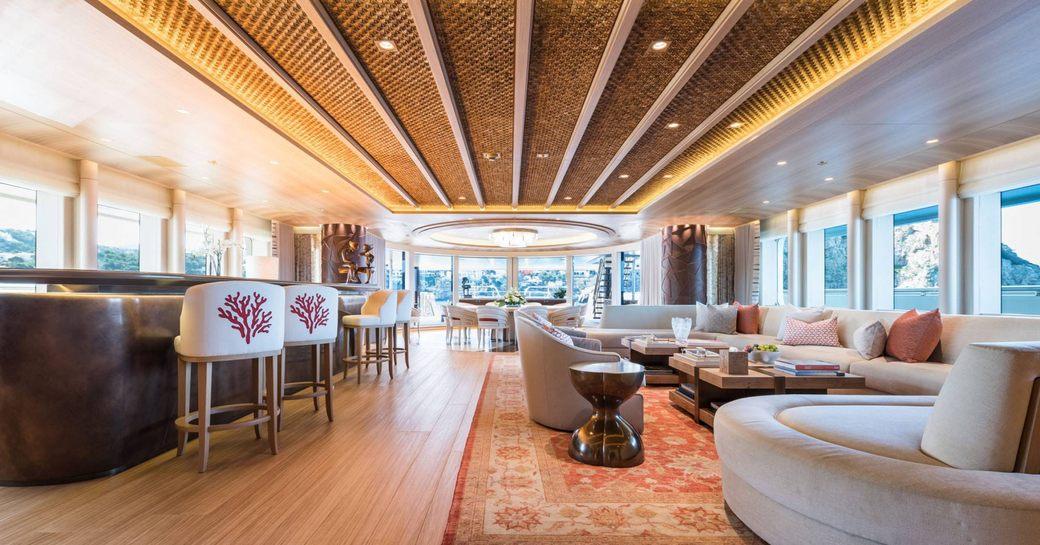 Main salon on charter yacht Here Comes the Sun