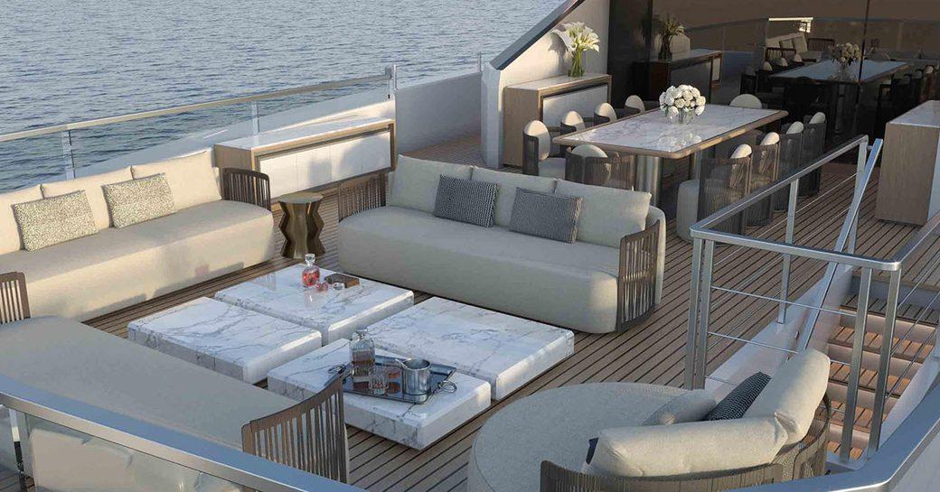Outdoor seating onboard motor yacht k2