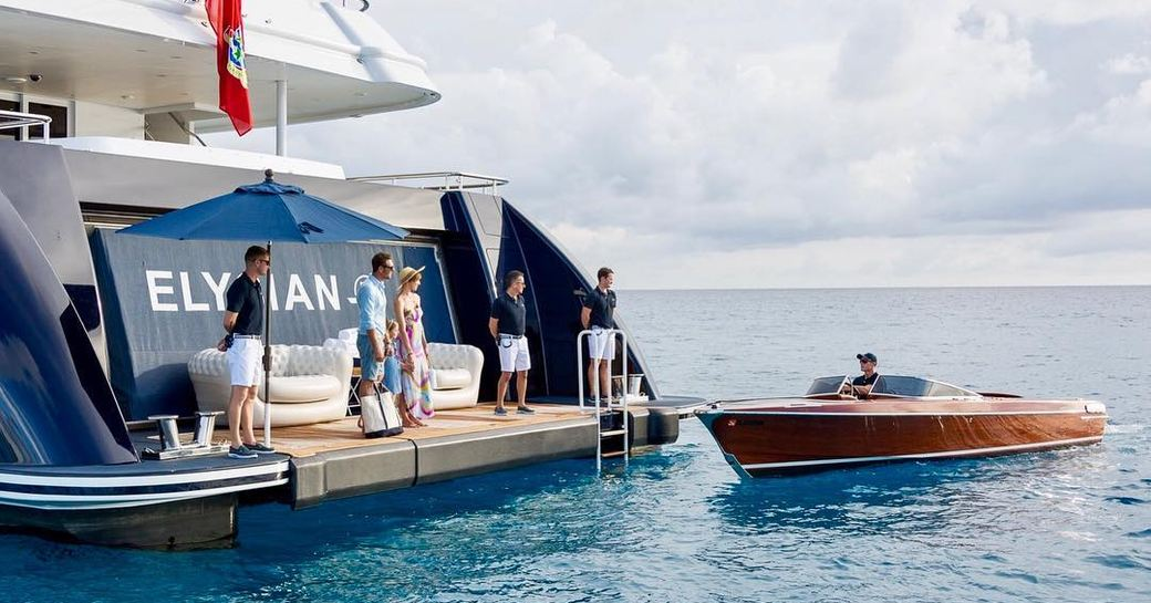 arriving to superyacht elision on superyacht charter