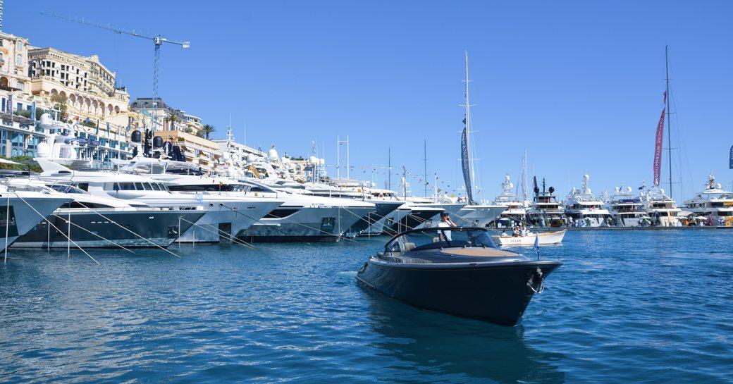 Tender cruises around the marina at Monaco Yacht Show