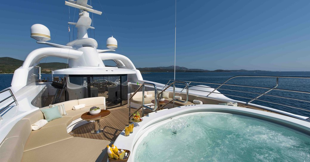 The Jacuzzi of superyacht 'Mine Games' looking out on the ocean