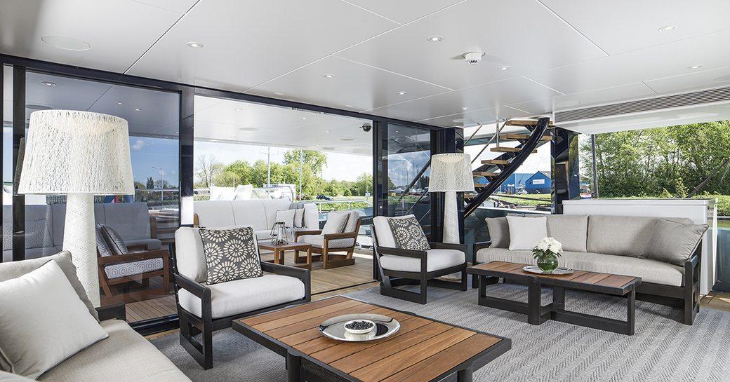 The interior of superyacht IRISHA