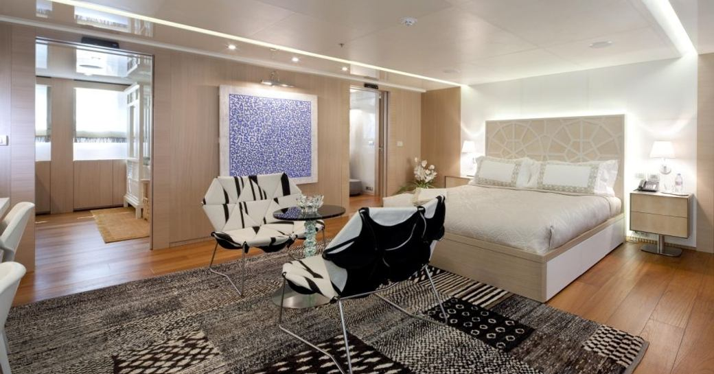 Master stateroom on board charter yacht VICKY