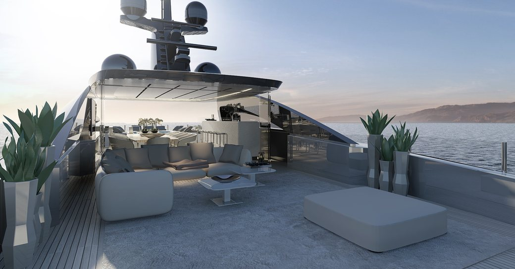 large sundeck on board luxury yacht OURANOS