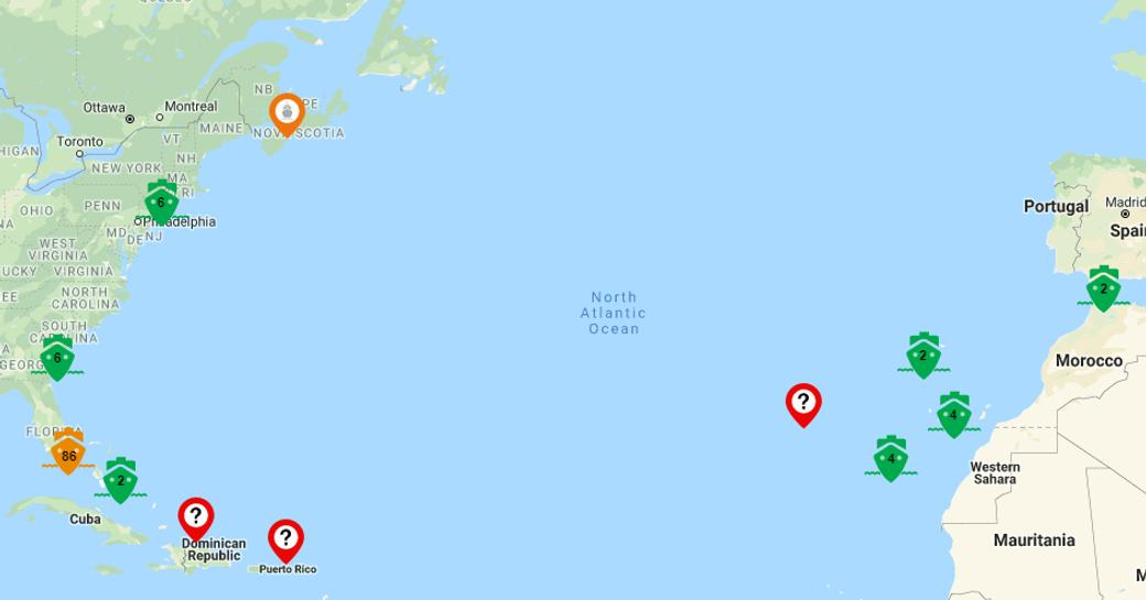 Map showing location of yachts going to FLIBS 2019