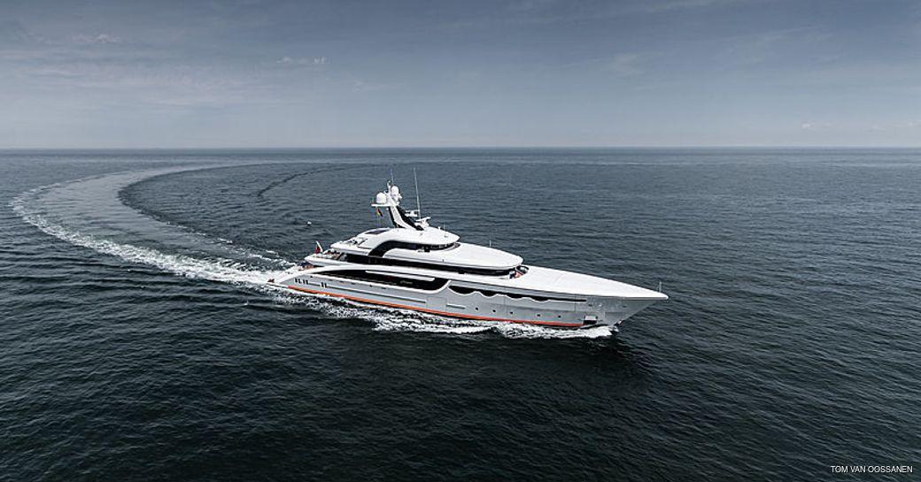 luxury yacht soaring underway