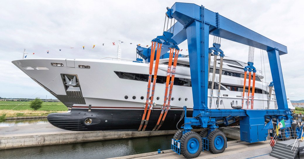 luxury yacht florentia about to hit the water