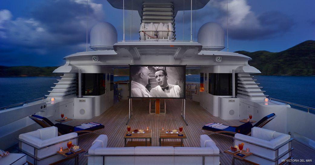 Alfresco cinema onboard MY Victoria del Mar