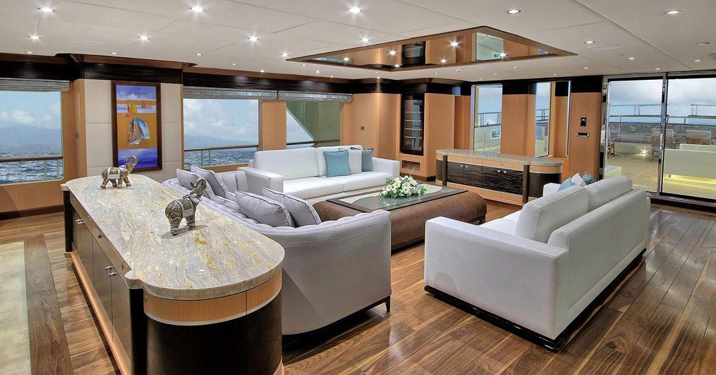 stylish main salon on board superyacht MEIRA