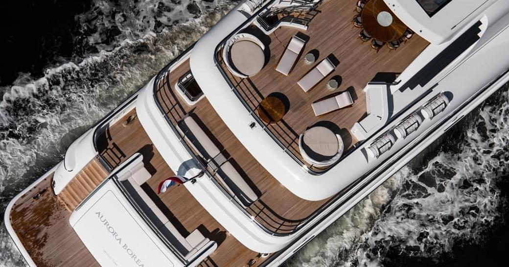 Aft decks aeria view of luxury yacht Aurora Borealis