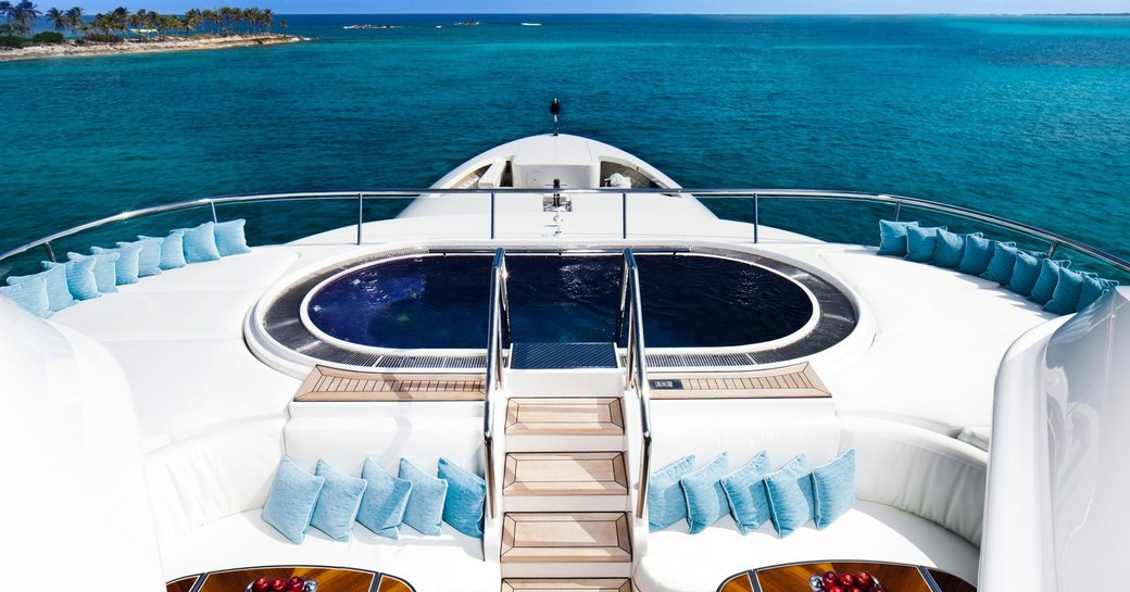 spa pool on the forward section of the sundeck aboard motor yacht Lady E