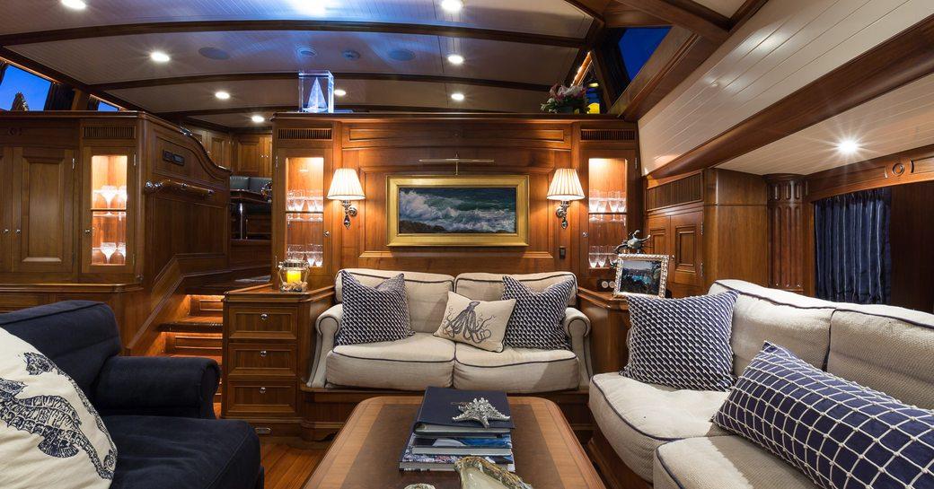 Main salon of sailing yacht MARAE