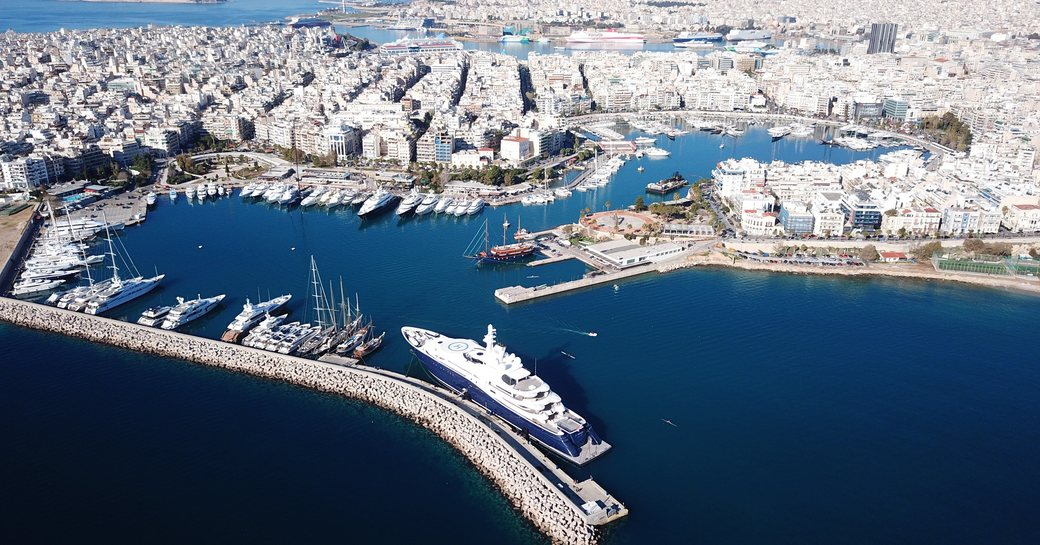 Aerial view of Piraeus, the busiest passenger port in Europe