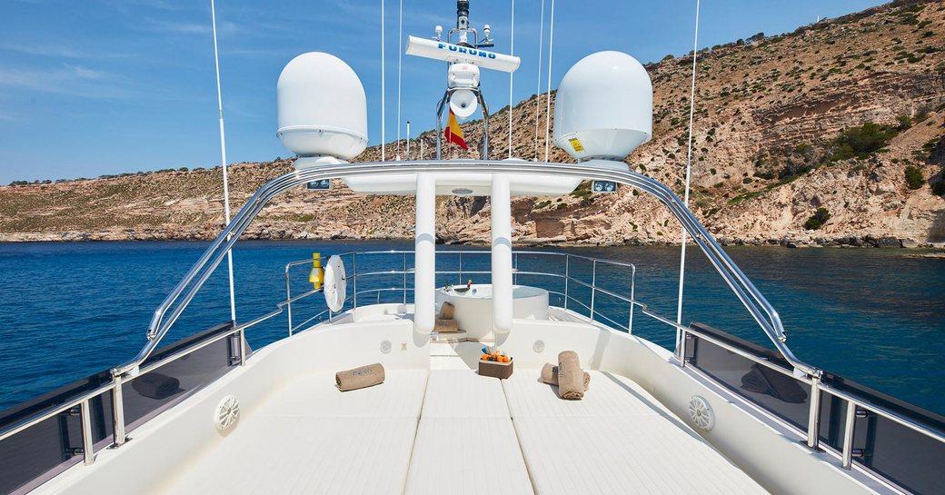 sunpads and spa pool on the sundeck of luxury yacht DEVA