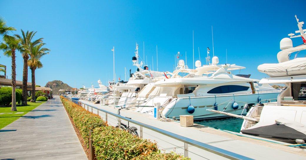 Moored yachts at Yalikavak Marina in Turkey