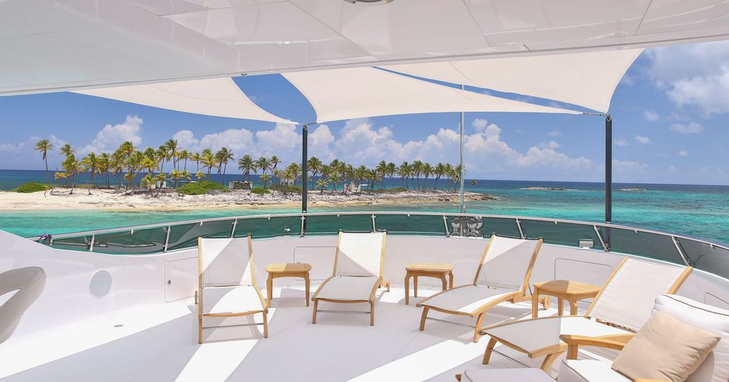 Virgin Islands looking out from sundeck of charter yacht REBEL