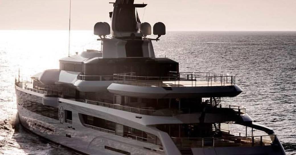 Running shot of Lady S yacht going away