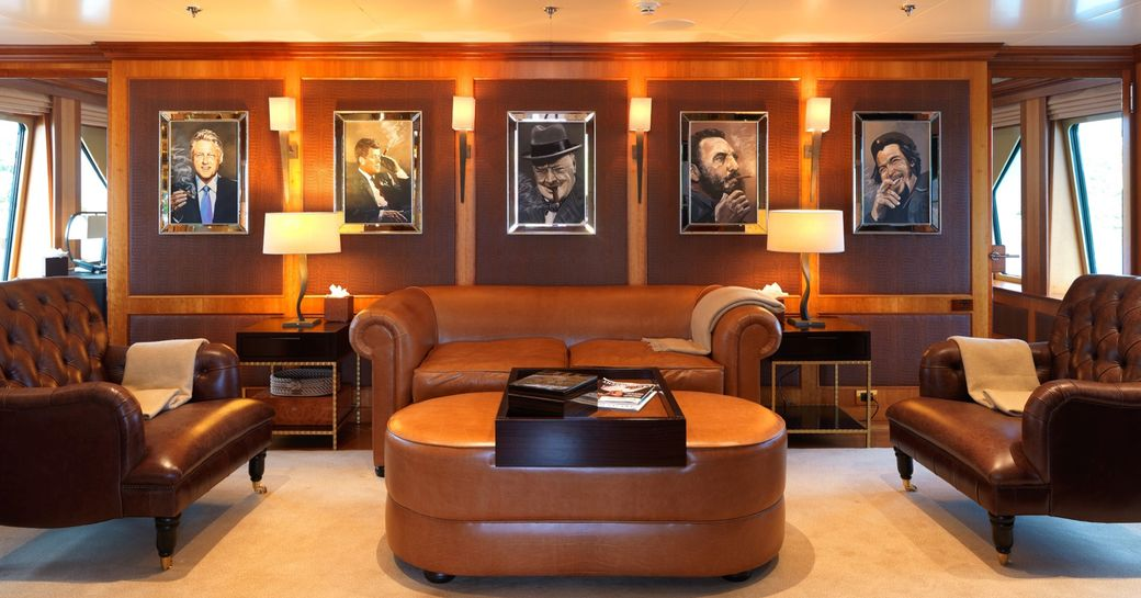 guests who enjoy the finer luxuries in life will make great use of superyacht the wellesley club lounge where they can drink scotch as they cruise mallorca