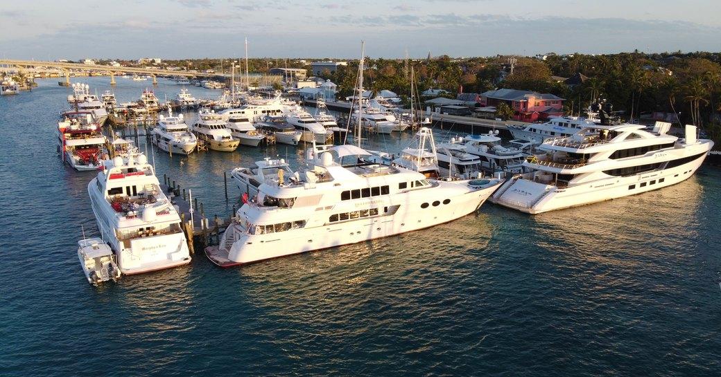 yachts at bay street marina during bahamas charter show