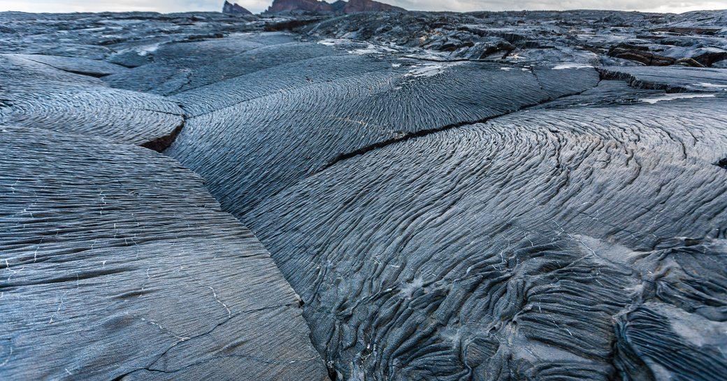 Pahoehoe lava field. Volcanic landscape of Santiago Island. Galapagos Islands, Ecuador