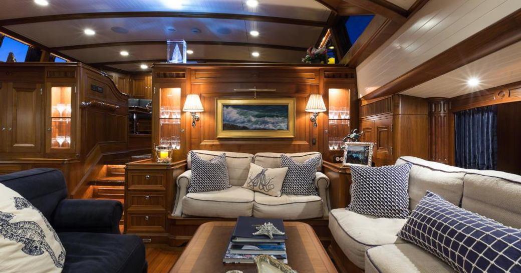 The main salon of luxury sailing yacht MARAE