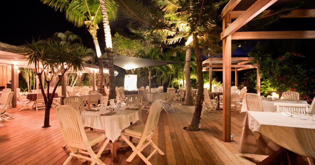 outdoor seating at L'Esprit Saline restaurant in St Barts