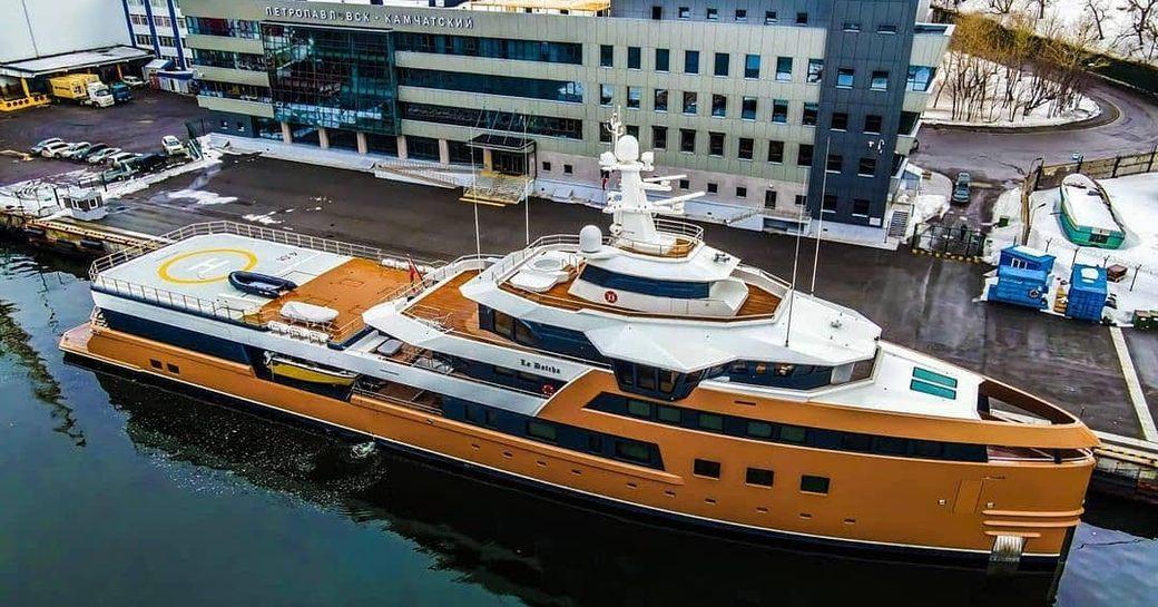 La Datch yacht moored in Kamchatka port