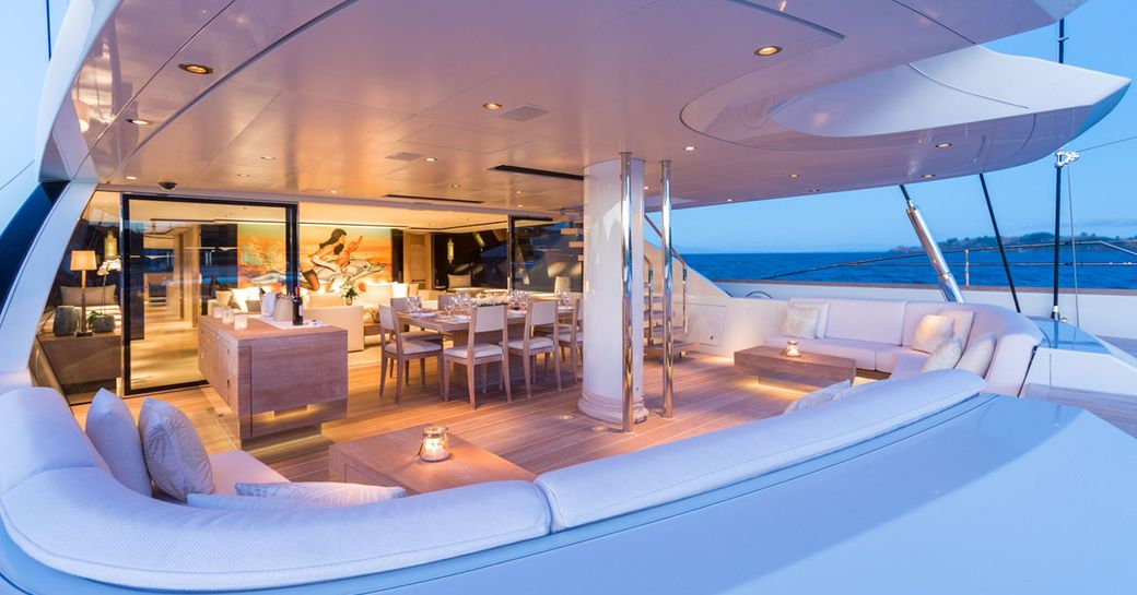 Aft deck looking into the main salon onboard SY Twizzle