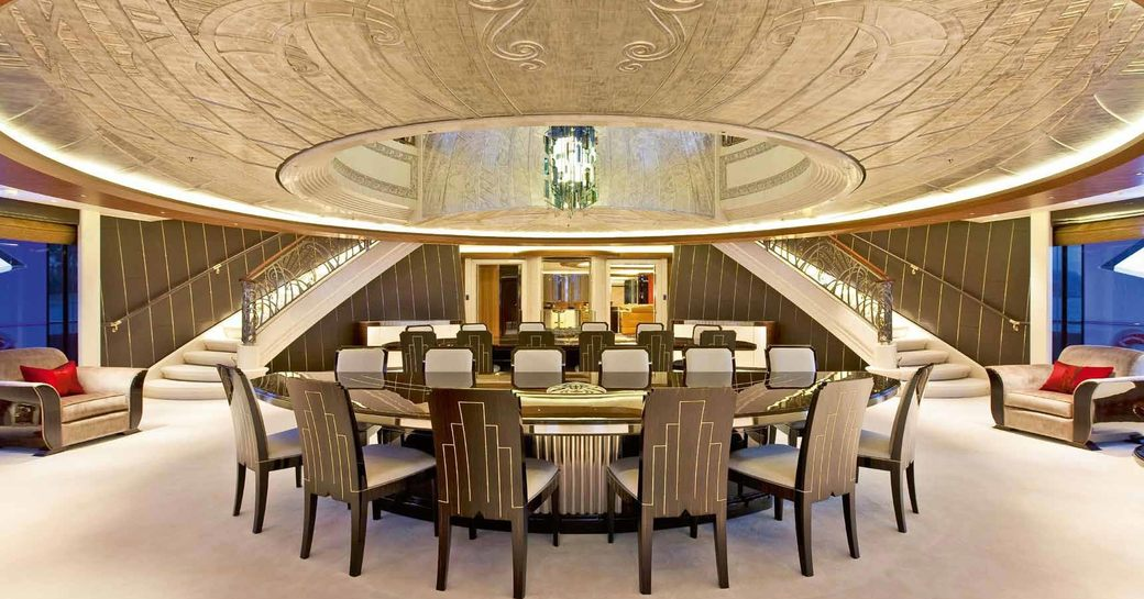 Magnificent formal dining room on board SERENE