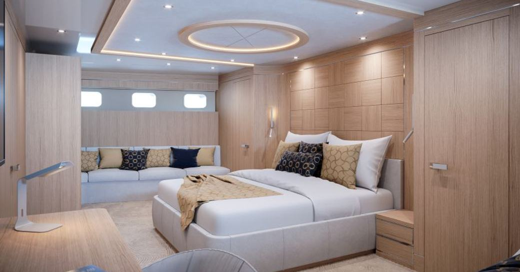 Master suite on sailing yacht Love Story with double bed and sofa