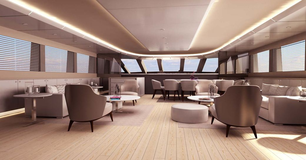 main salon with mirrored seating areas on board charter yacht All About You