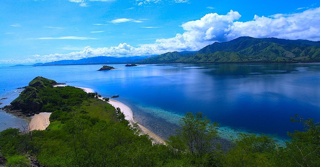 water and island of 17 Island Marine Park in Flores
