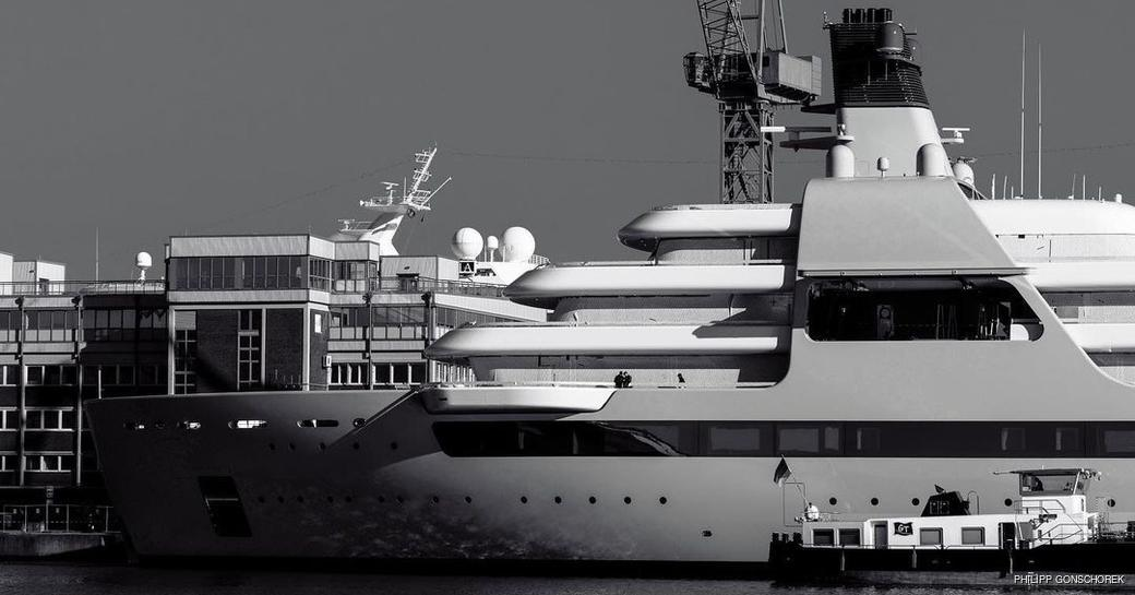 A black and white image of new superyacht Solaris