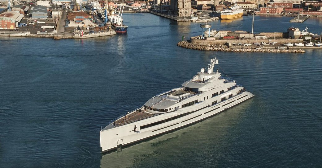 aerial view of lana yacht leaving benetti facilities