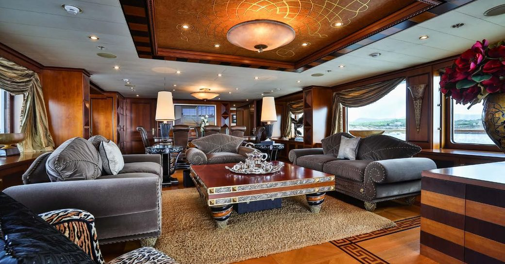 oriental and classic styling fuses together in the main salon of charter yacht DENIKI