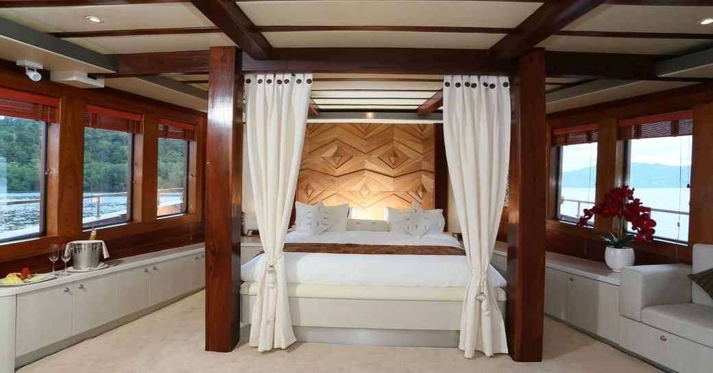 Master suite on superyacht LAMIMA