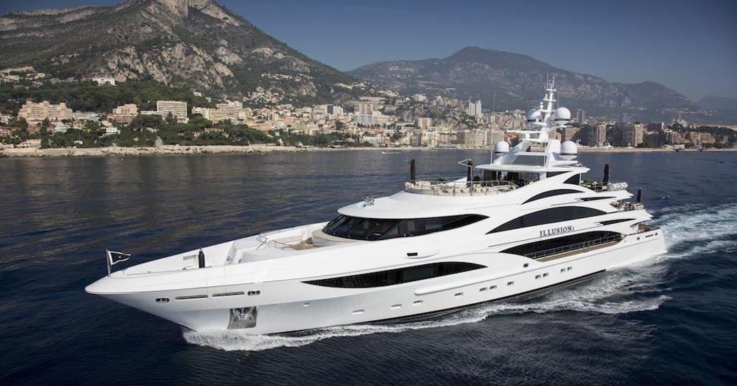 Superyacht 'Illusion V' underway