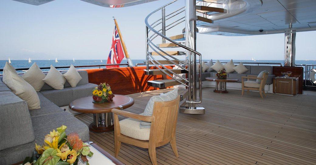 superyacht wheels aft deck seating